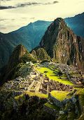 image of lamas  - Machu Picchu at sunset when the sunlight makes everything golden - JPG