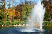Novi Petrivtsi, Ukraine - October 14: The Fountain And Rainbow In Mezhigirya On October 14, 2014 In