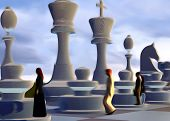 Business people on chess board