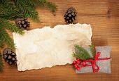 blank, vintage rural gift and Christmas tree branch