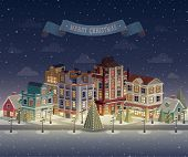 Christmas night cityscape and snowfall. Vector illustration.