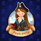 Cute Woman Pirate With Treasure Chest. Banner For Pirate Party