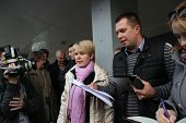 Candidate for mayor of Khimki opposition leader Yevgenia Chirikova and her head staff Nikolai Laskin