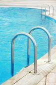 Steps In A Blue Water Pool
