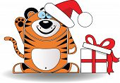 Cute illustration of christmas tiger with gift box
