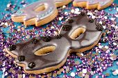 stock photo of shortbread  - Selective focus on shortbread masquerade mask cookies - JPG