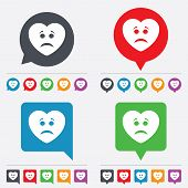 Sad heart face sign icon. Sadness symbol.