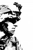 image of marines  - Black white image of US marine in uniform - JPG