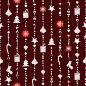 Christmas Seamless Pattern On Maroon Background With Garlands