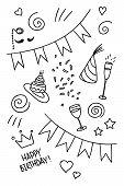 Set of hand drawn doodles, birthday theme