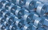 foto of cylinder  - Many heads of hydraulic cylinders in blue - JPG