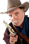 foto of hustler  - Cool Cowboy on white background with pistol - JPG