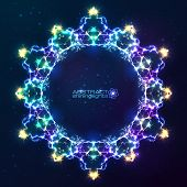 Electric lightnings vector kaleidoscope frame