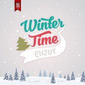 Vintage Christmas Greeting Card With Typography Holiday Label Design. Winter Landscape Background with Blurred Xmas Trees and Snowflakes.