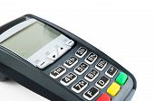 Payment Terminal With Lighting Keypad Isolated On White