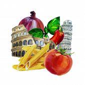 Italian watercolor set. Coliseum. Pisa Tower. Pasta ingredient.