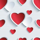 pic of wallpaper  - Stylish Valentines day background seamless pattern with 3d red and gray hearts - JPG