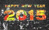 Happy New Year 2015 Pointillized Multicolored Abstract Background