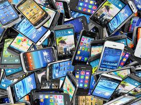 stock photo of telecommunications equipment  - Mobile phones background - JPG
