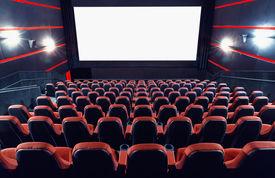 foto of cinema auditorium  - Empty cinema auditorium with screen and seats - JPG