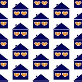 pic of roof-light  - Seamless pattern with repeating white contoured navy house with roof and chimney on it tow big windows in the shape of hearts and orange light in them isolated on white background - JPG