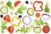 foto of onion  - Ingredients for flying salad with tomatoes Feta cheese lettuce onion olives and cucumber - JPG