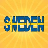 stock photo of sweden flag  - Sweden flag text with sunburst illustration - JPG