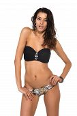 pic of slender  - Tall slender brunette in a black bandeau top and leopard print panties - JPG