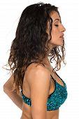 foto of slender  - Tall slender brunette in a sequined blue bra - JPG
