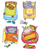stock photo of cartoon animal  - Cute baby animals cartoons sleeping in beds - JPG