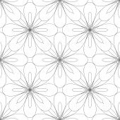 foto of symmetrical  - seamless symmetrical geometric ornament with stylised flowers vector illustration - JPG