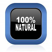 image of 100 percent  - natural square glossy icon 100 percent natural sign  - JPG