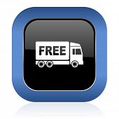 stock photo of free-trade  - free delivery square glossy icon transport sign  - JPG