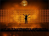 foto of rock star  - Rock Star Silhouette with Guitar on Stage with Crowd - JPG