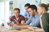 stock photo of business class  - Group of young people in business training - JPG