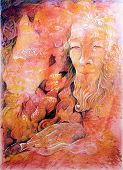 pic of fairies  - Elven fairy realm abstract painting detailed colorful artwork on red orange background - JPG