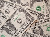 picture of currency  - Dollar banknotes 1 Dollar currency of the United States useful as a background - JPG