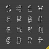 stock photo of indian currency  - Thin linear world currency symbols icons set with baht - JPG