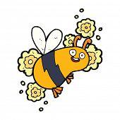picture of bee cartoon  - cartoon flying bee - JPG