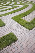 Entrance to a Cobblestone and Grass Maze