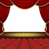 picture of curtains stage  - Theater stage with red curtain - JPG