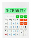 pic of integrity  - Calculator with INTEGRITY on display isolated on white background - JPG