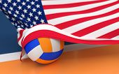 picture of volleyball  - Flag of USA with championship volleyball ball on volleyball court - JPG