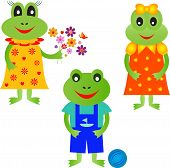 picture of orange frog  - isolated boy and girls cartoon frog vectors - JPG