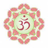 image of om  - red symbol Om in wreath of lotus - JPG