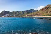 stock photo of atlantic ocean beach  - waters of Atlantic ocean and beach Las Teresitas - JPG