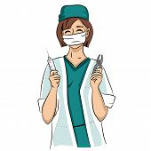 picture of tong  - Sexy dentist woman holds syringe and tongs - JPG