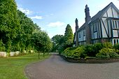 image of driveway  - A driveway to a big tudor house in the UK - JPG