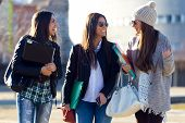 picture of adolescent  - Portrait of three students girls walking in the campus of university - JPG