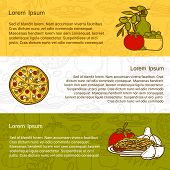 Постер, плакат: Vector italian cuisine concept with cute cartoon hand drawn objects and outline background: pizza p